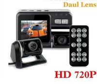 HD 720P Dual Lens Car DVR I1000 G-Sensor + H.264 + MOV Video Recorders + 120 degree ultra wide angle lens Camcorder Car Camera