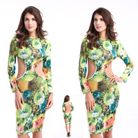 Spring 2014 New Summer Floral Print Women Clothing Sexy Bandage Dress Bodycon Backless Party Dresses Clubwear Vestidos LB5144