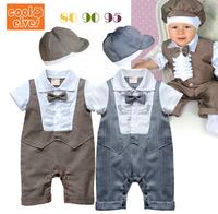 Free Shipping Children Clothing  boys short sleeve gentleman stripe fake vest baby romper with hat