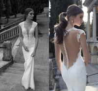 Elegant 2014 Designer Floor-length V-neck Backless Lace Mermaid Sweep Train Latest Wedding Dress Wedding Gown CH-21