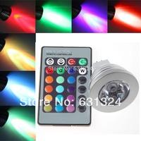 10sets/lot 3W MR16 RGB LED Light Bulb 16 Colors Spotlight Bulb LED Lamp 85-265V HK Post Free shipping