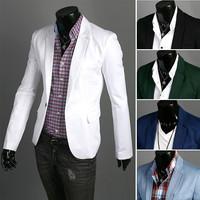 New Arrival 5 colors M-3XL Men  Casual Slim Stylish fit One Button Suit Blazer Coat Jackets Slim Custom Fit