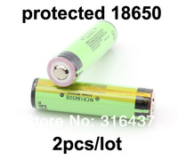 New Original 2pcs/ lot  NCR18650B protected Rechargeable Li-ion battery 3.7V 3400mAh  Free Shipping