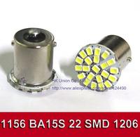 50pcs/lot ,Car led lamp 1156 BA15S 22 LED 22 smd 22SMD Leds light 1206 SMD turn signal reverse light