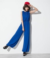 Free Shipping new 2014 Spring summer clothes fashion casual chiffon high waist wide leg pants jumpsuit sleeveless TP79