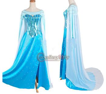 Custom Made Frozen Snow Queen Elsa Costume Dress Movie Cosplay Costume For Kids