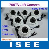 Big sale  6pcs/lot 700TVL 960H 1/3'' Sony CCD Effio-E 2.8-12mm Security CCTV Outdoor Dome Camera  Support UTC
