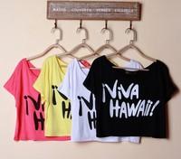 Women's New Europen loose bikini short paragraph bat sleeve pullover crop tops summer beach blouse female short-sleeved T-shirt