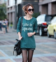 Lettering New Large Size Korean Style Ladies' Long Sleeves T Shirt