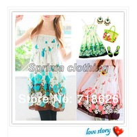 2014 Free Shipping Sexy Lady BOHO Floral Tunic Blouse Dress Skirt Chiffon 3123