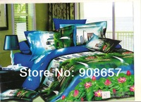 spring bedding sets cotton bed linen bedclothes queen full quilt comforter bedspread green blue city lake scenic printed sheets