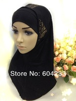 CJSF03 hot sale fashion modal style two piece beaded muslim hijab for women,free shipping,assorted colors