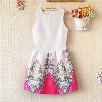 Hight quality Women Summer dress New 2014 Fashion Sleeveless Vest Girl Dress Vintage Mini Flower Print Casual Dress