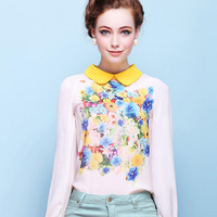2014 NEW Fashion Wowen Peter Pan Collar Tops Back Button Canvas Floral Long-Sleeved Comfy Elegant Slim Shirt Slim Retro Blouse