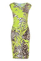2014 new fashion,Hawaii style,Aristocratic temperament,elegant printing,slim,vest,leopard print dress,plus size,free shipping