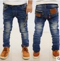 retail--1pcs/lot new 2014 spring zipper design children's boys jeans denim long pants