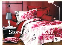 wedding bedding sets cotton bed linen girls bedclothes queen quilt comforter bedspread pink red romantic rose flower print sheet