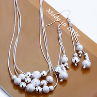 wholesale 925 silver jewelry sets fashion jewelry necklace+ earrings cute women jewelry set  factory price free shipping S122
