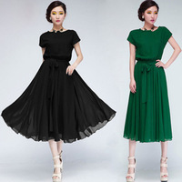 Spring new 2014  women summer dress chiffon bat sleeve casual dress belt extension party dresses vestidos long dress