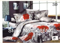 2014 new spring bedding sets cotton bed linen girls bedclothes queen quilt comforter bedspread red pink gray flower print sheets