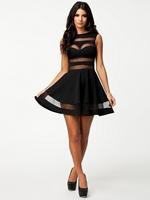 ML17958 CPAM Free Shipping Women Mesh Insert Skater Dress Elegant Evening Dress 2014 Spring Fashion Dress