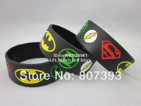1PC, Free Shipping, New Justice League, Superman, Batman, Green Lantern, The Flash Wristband, Silicon Bracelet