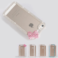 For iPhone 5 5S New Shiny Diamonds Rhinestone Cute Bowknot Clear Hard Case Cover Free Shipping