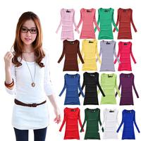 Fashion brief 2013 slim medium-long basic shirt o-neck long-sleeve T-shirt plus velvet solid color milk silk t-shirt
