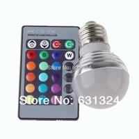 RGB LED Bulb 3w E27/E26 RGB LED 16Colors 85-265v +24 key remote controller