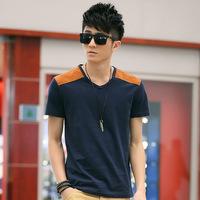 Manufacturers selling detonation Han edition youth popular men's spell shoulder v-neck t-shirts Pure cotton men's T-shirt  XXL