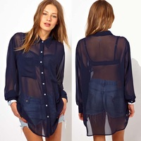 XS - XXL Plus Size Chiffon Shirt Women Loose Medium-long Double Pocket Long-sleeve Sheer Shirt, Female Blouse 2014 Spring Summer