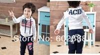 Free shipping sport set Children clothing set hoodies+pant,2pcs/set American flags baby set 5pcs/1lot