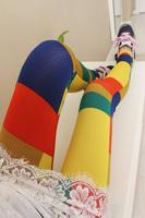 2014 new women leggings Plaid legging candy color patchwork women legging pants