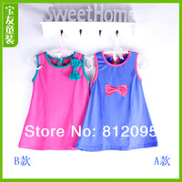 Children's dress! New arrival girls bow design clothing Sleeveless cotton causual princess dress in stock Litte spring GTJ-Q0060