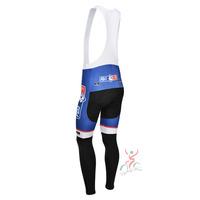 FDJ FR blue 2013 team cycle BIB pants trousers Winter Fleece Thermal Cycling bike Full Length stretch tight biking Wear