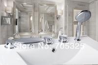Triple Handles Waterfall Deck Mounted Brass Body  Bathtub  Shower Basin Sink  Mixer Tap Chrome Bathroom 5PCS Faucet Set Z47CC13