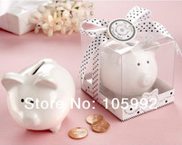 Ceramic Mini-Piggy Bank in Gift Box with Polka-Dot Bow Wedding Favors100pcs/lot