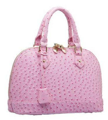 Free shipping 2014 Women's fashion Leather Handbag Quality large size shell bag ostrich grain big bags(China (Mainland))