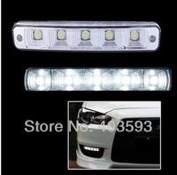 Free shipping New 2PCS Universal Car Light Super White 5 LED Daytime Running Light Auto Lamp DRL