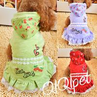 19.9 pet clothes teddy dog clothes summer cherry cap lace princess one-piece dress