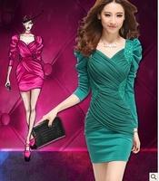 2014 Spring Fashion Women Slim OL Chiffon Mini Dress Lantern sleeve V-neck Mosaic bead Female Lace Spliced Evening Party Dress