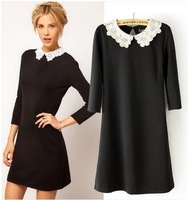 New 2014 summer/spring ASOSS same style Cute Peter pan collar bodycon dress Cotton Women dress 100% Good Quality!!!