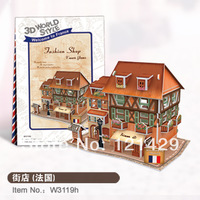 2014 new cubic fun 3D puzzle jigsaw Fashion Shop France construction model kids educational toy free shipping
