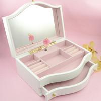 Large solid wood music box jewelry box music box rotating jewelry box ballet birthday gift