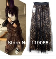 2014 spring and summer woman   leopard skirts long /floor skirts