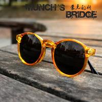 2014 vintage fashion sun glasses vintage round box male Women sunglasses