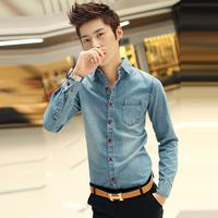 man spring 2014 denim shirt men jeans shirt male casual shirt men's clothing clothes blouses slim fit plus size XXXL 3XL korean