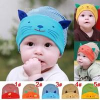 1pcs  hot sale multi color Cotton Beanie stripe kitty infant beanies Kids caps Infant cap children hats Boys & Girls Skull Cap