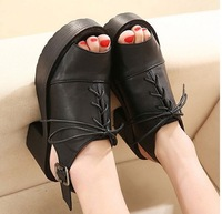 New 2014 korean style summer shoes woman platform thick heels sandals for women peep toes black leather size 35-39