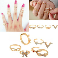 Details about 7X Punk Crystal Cross OK Bowknot Knuckle Midi mid Finger tip Stacking Rings Gift